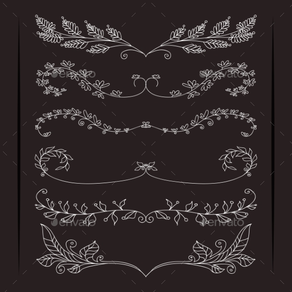 Set of Calligraphic Foliate Borders - Web Elements Vectors