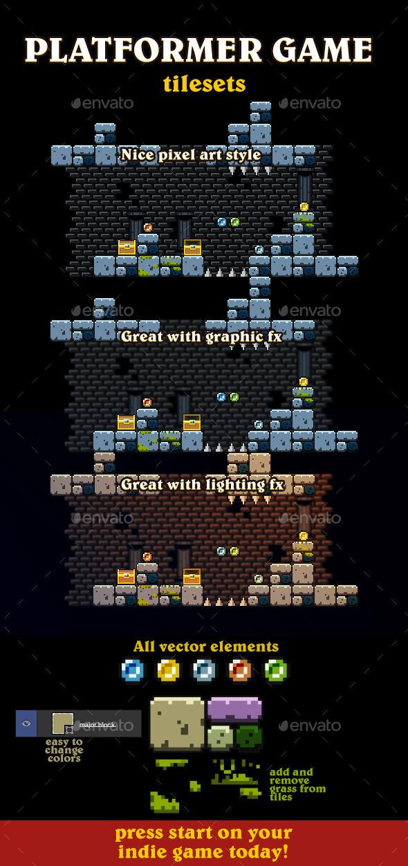 Vector Pixel Art Tileset - Tilesets Game Assets