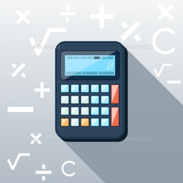 Calculator Flat Concept Icon - Objects Vectors