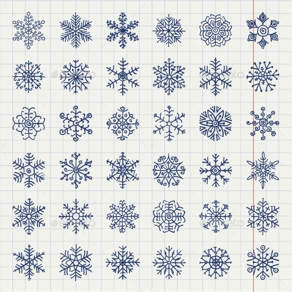 Winter Snow Flakes Doodles - Seasons/Holidays Conceptual