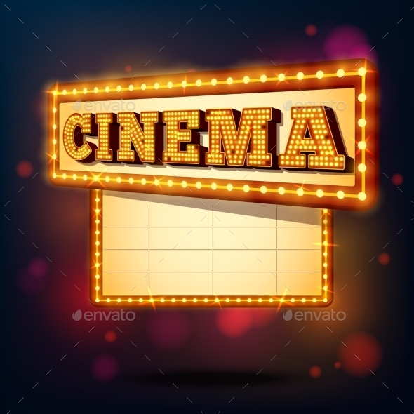 Retro Cinema Sign - Backgrounds Decorative