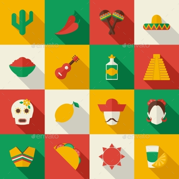 Mexico Icons - Web Elements Vectors