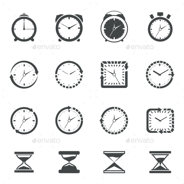 Clock Icon Black Set - Technology Conceptual