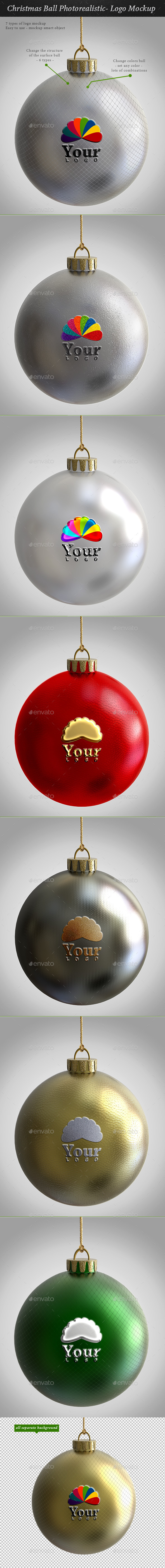Christmas Ball Photorealistic- Logo Mockup - Product Mock-Ups Graphics