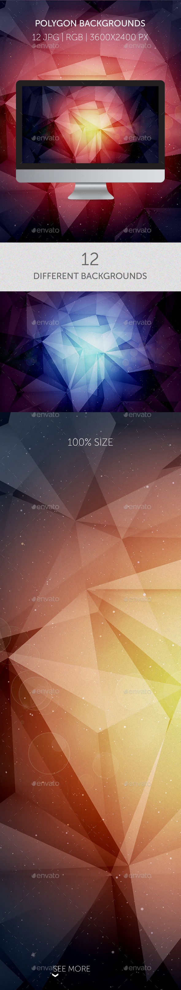 12 Amazing Cosmic Polygon Backgrounds - Abstract Backgrounds