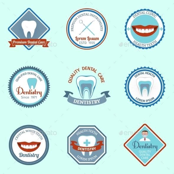 Dental Emblems Set - Health/Medicine Conceptual