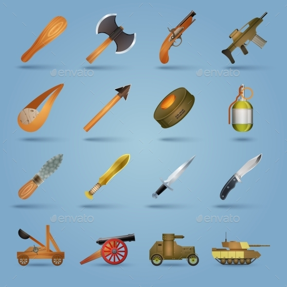 Weapon Icons Set - Objects Vectors