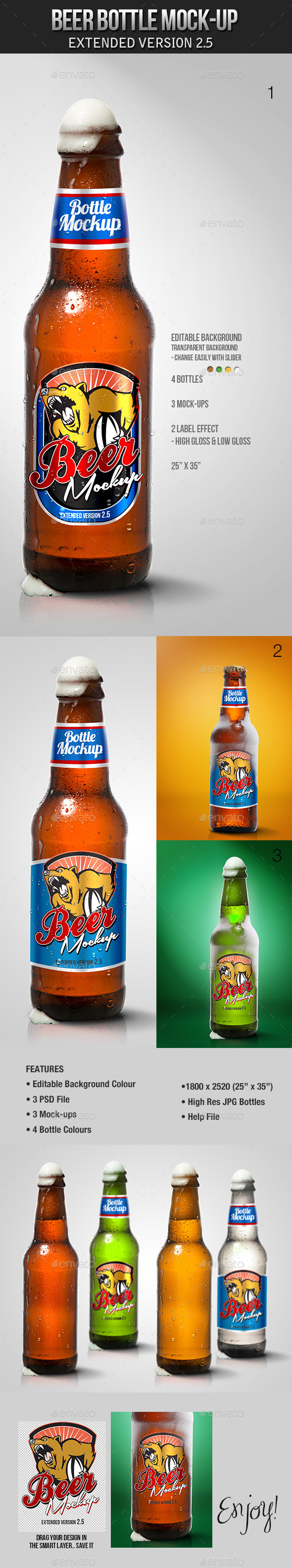 Beer Bottle Mockup V2.5 - Product Mock-Ups Graphics