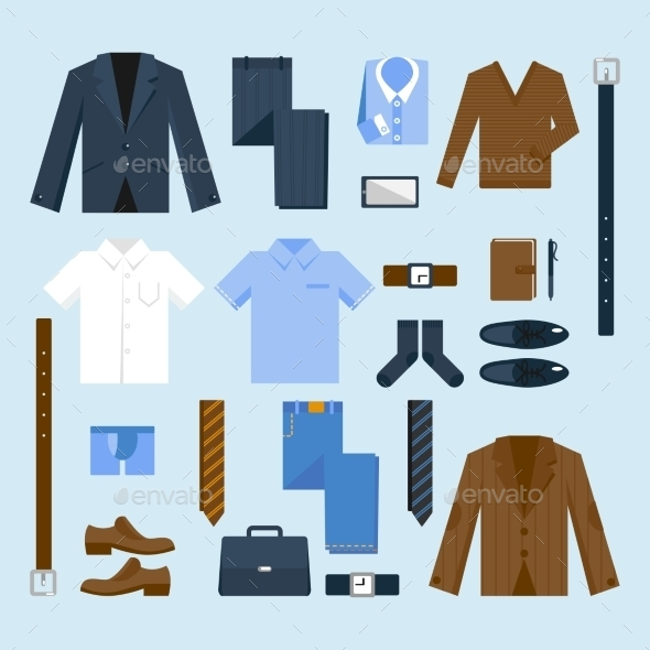 Businessman Clothes Icons Set - Man-made Objects Objects