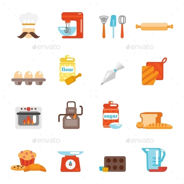 Bakery Icon Flat - Food Objects