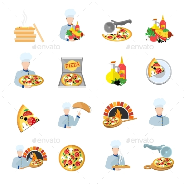 Pizza Maker Icon Set - Food Objects