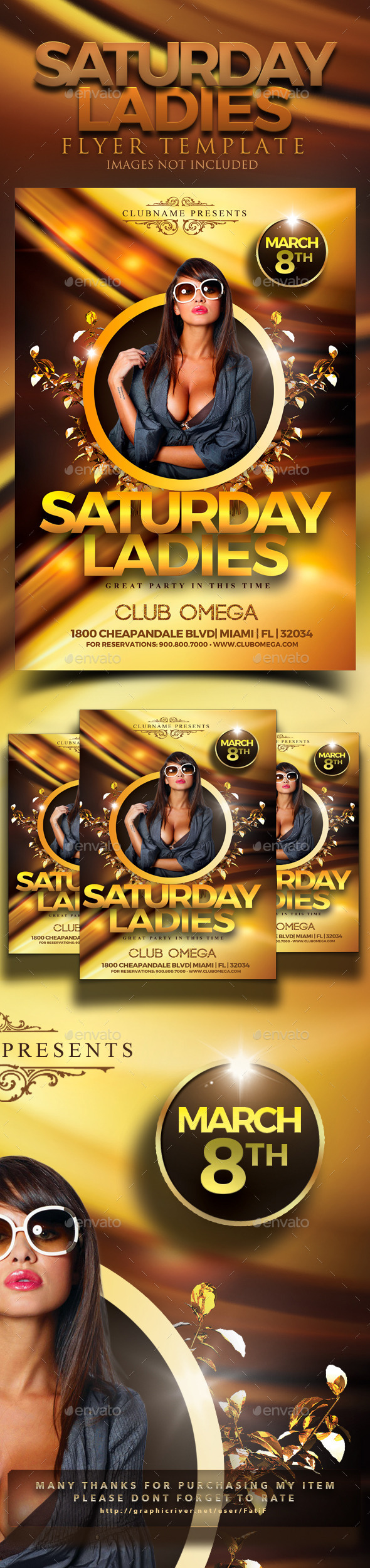 Saturday Ladies Flyer Template - Clubs & Parties Events