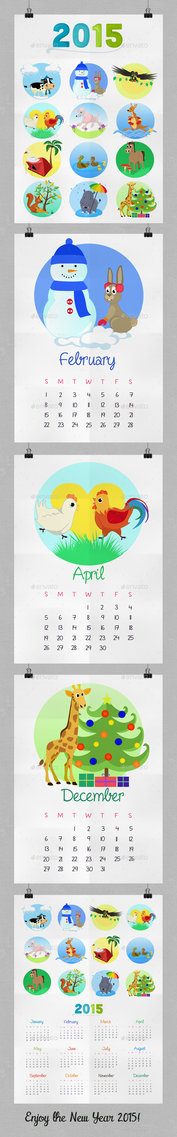 Children's Calendar With Animals for 2015 - Calendars Stationery