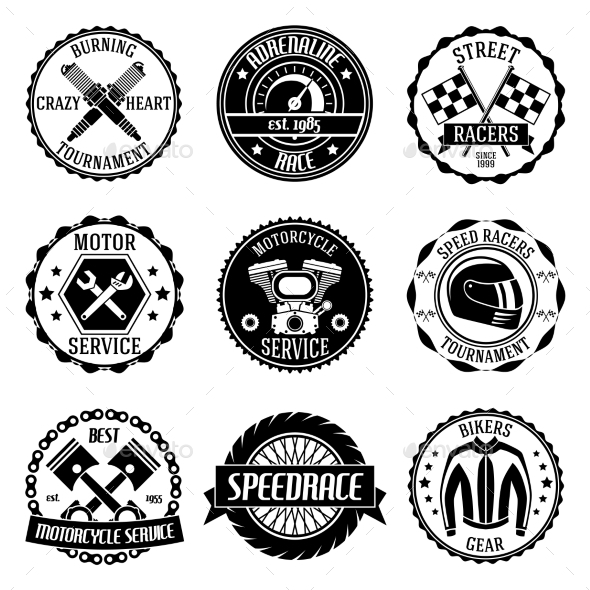Motorcycle Racings Emblems - Technology Conceptual