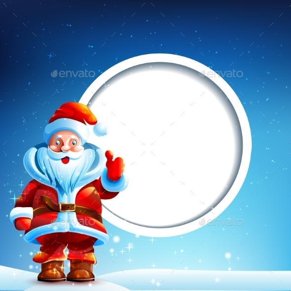 Santa Claus in the Snow with a Thumbs Up - Christmas Seasons/Holidays