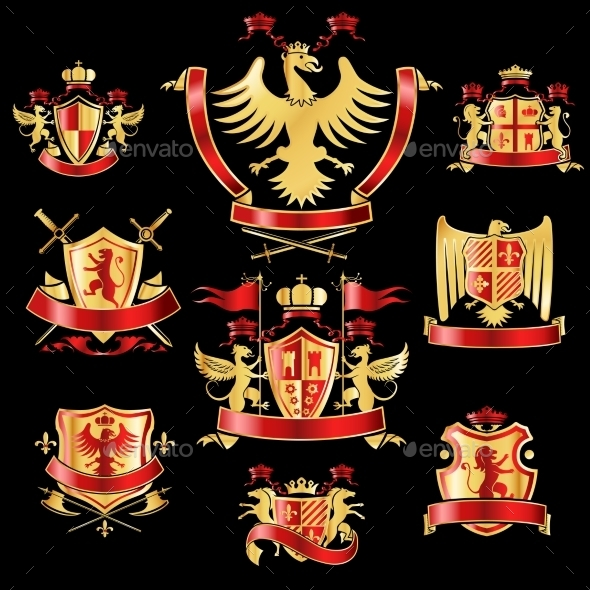 Heraldic Labels Gold and Red  - Decorative Symbols Decorative
