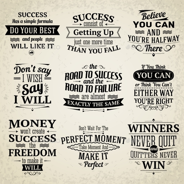 Success Quotes Set - Miscellaneous Vectors