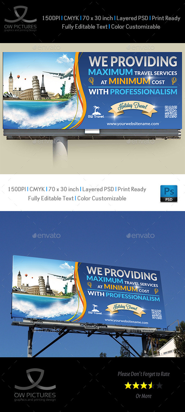 Travel Company Billboard Template - Signage Print Templates