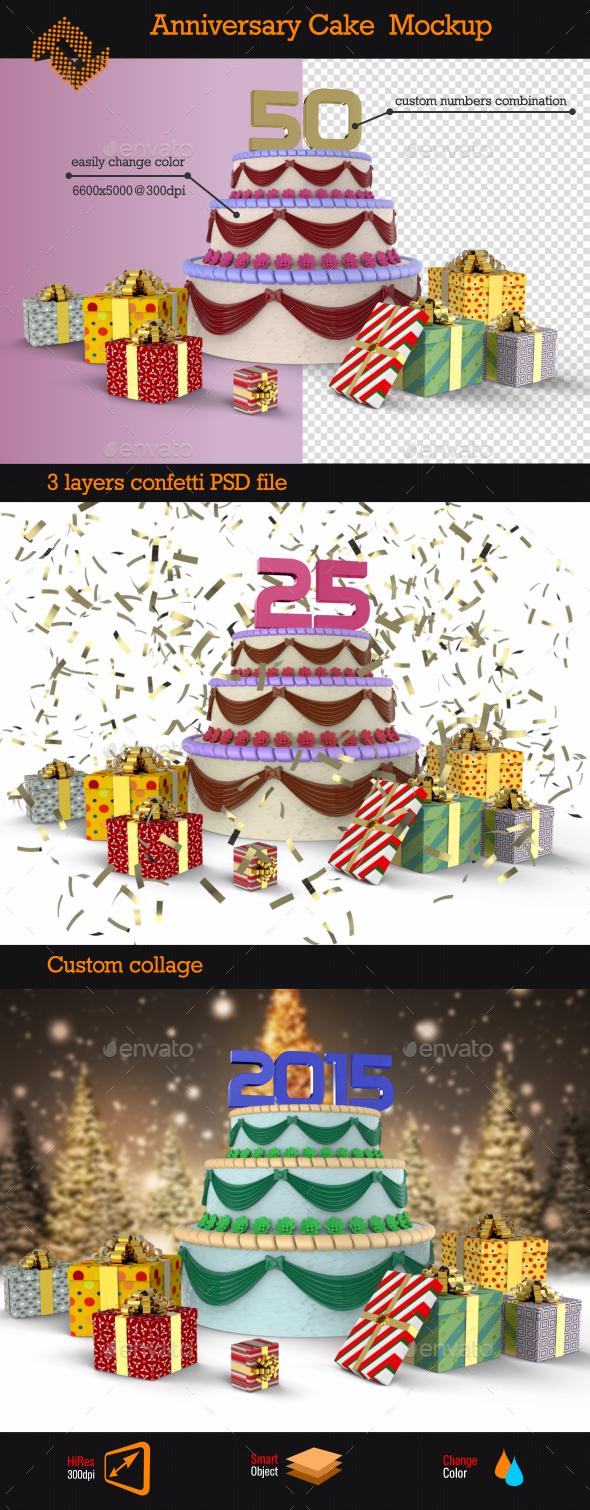 Anniversary Cake Mockup - Product Mock-Ups Graphics