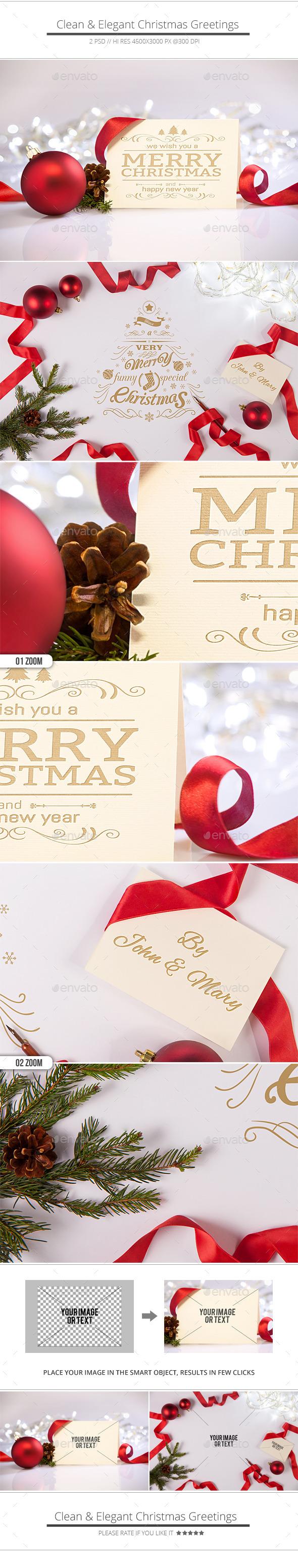 Clean and Elegant Christmas Greetings Mockups - Print Product Mock-Ups
