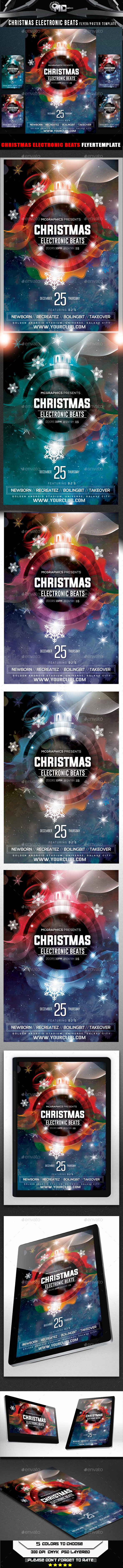 Christmas Electronic Beats Flyer Template - Flyers Print Templates