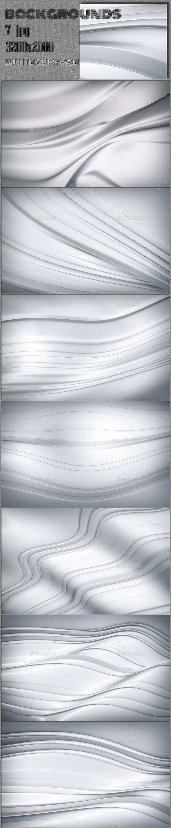 White Glossy Waves - 3D Backgrounds