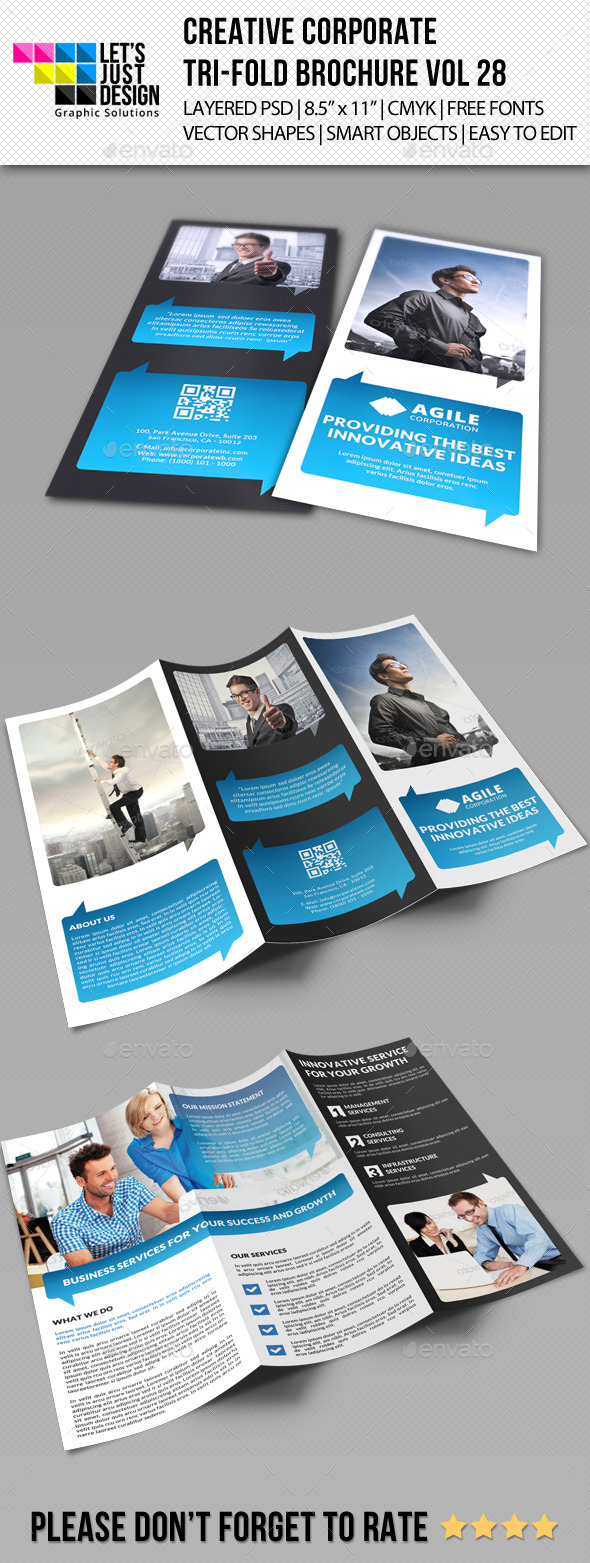 Creative Corporate Tri-Fold Brochure Vol 28 - Corporate Brochures