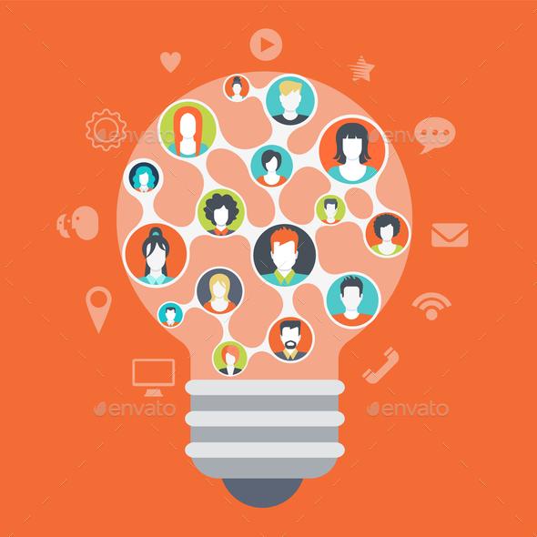 Social Media Light Bulb Concept - Media Technology