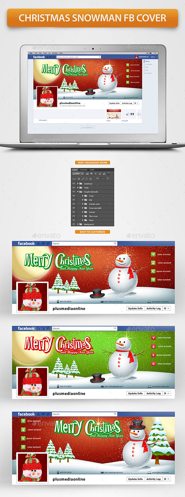 Christmas Snowman Timeline Cover - Facebook Timeline Covers Social Media