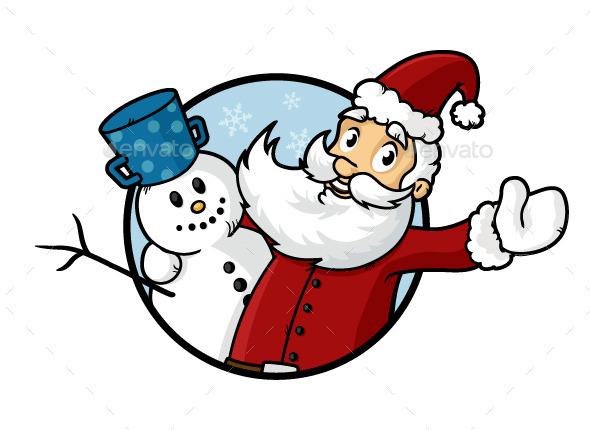 Santa and Snowman - Christmas Seasons/Holidays