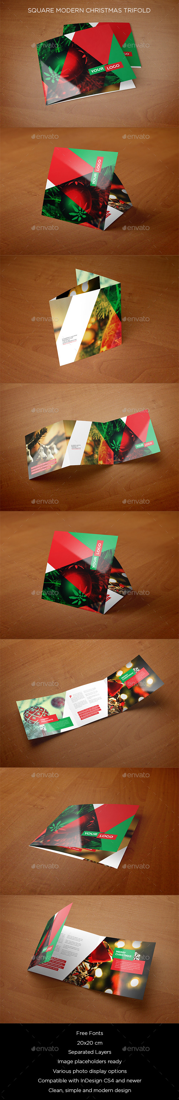 Square Modern Christmas Trifold - Brochures Print Templates