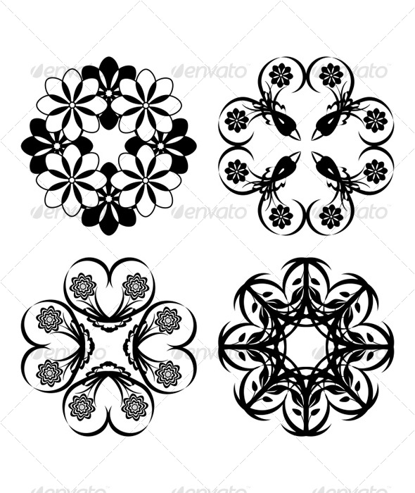 Set of the floral ornaments - Characters Vectors