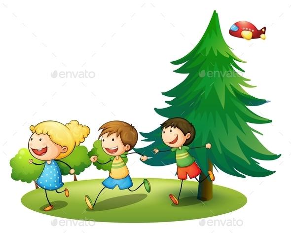 Children Running - People Characters