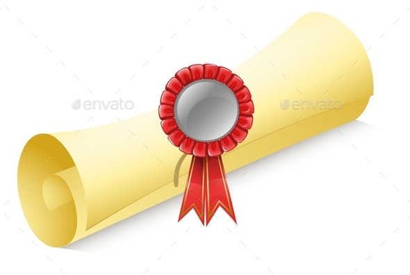 Rolled Paper with a Red Ribbon - Man-made Objects Objects