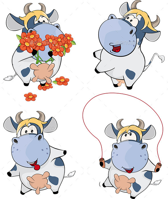 Set of Cows Cartoon - Animals Characters