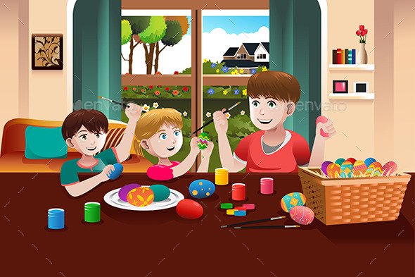 Kids Painting Easter Eggs - Seasons/Holidays Conceptual