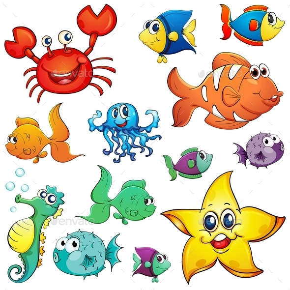 Different Sea Creatures - Animals Characters