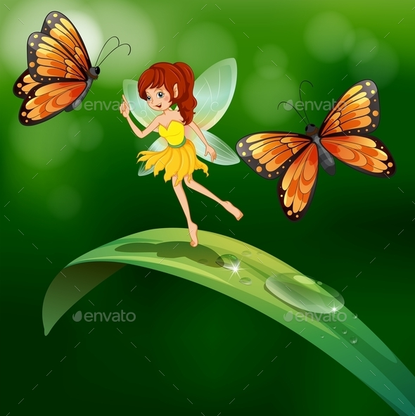 A Fairy Standing in a Leaf with Butterflies - People Characters