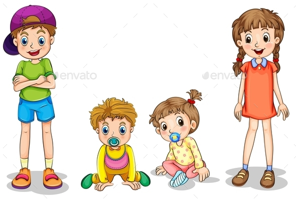 Two Kids and Two Infants - People Characters