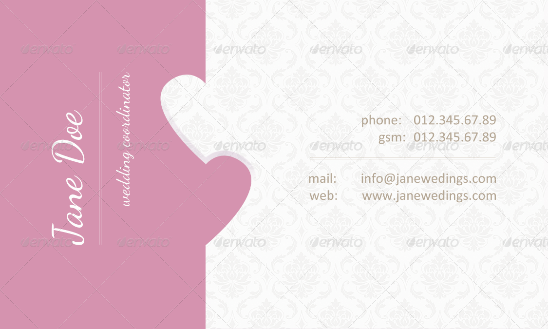 Wedding Coordinator Business Card by skatusic | GraphicRiver