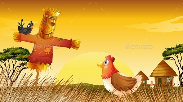A Chicken with a Scarecrow and a Black Bird - Animals Characters