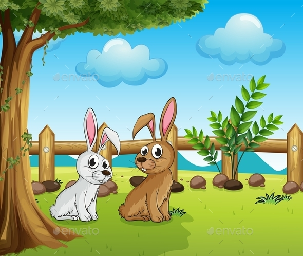 Two Bunnies inside the Fence - Animals Characters