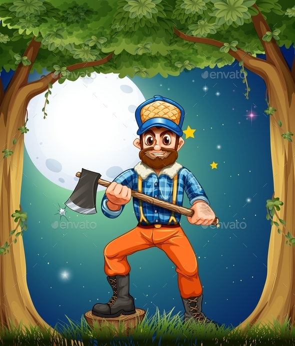 A Woodman Standing in the Middle of the Trees - People Characters