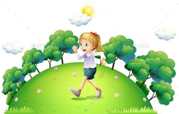 A Girl Running above the Hill - People Characters