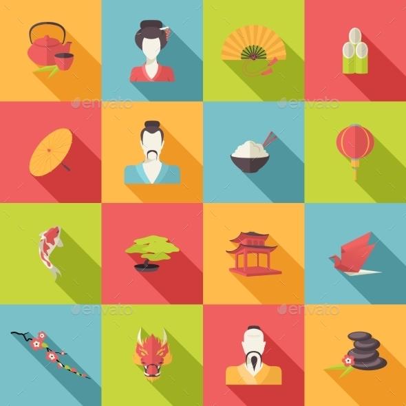 Japan Icons Flat - Travel Conceptual