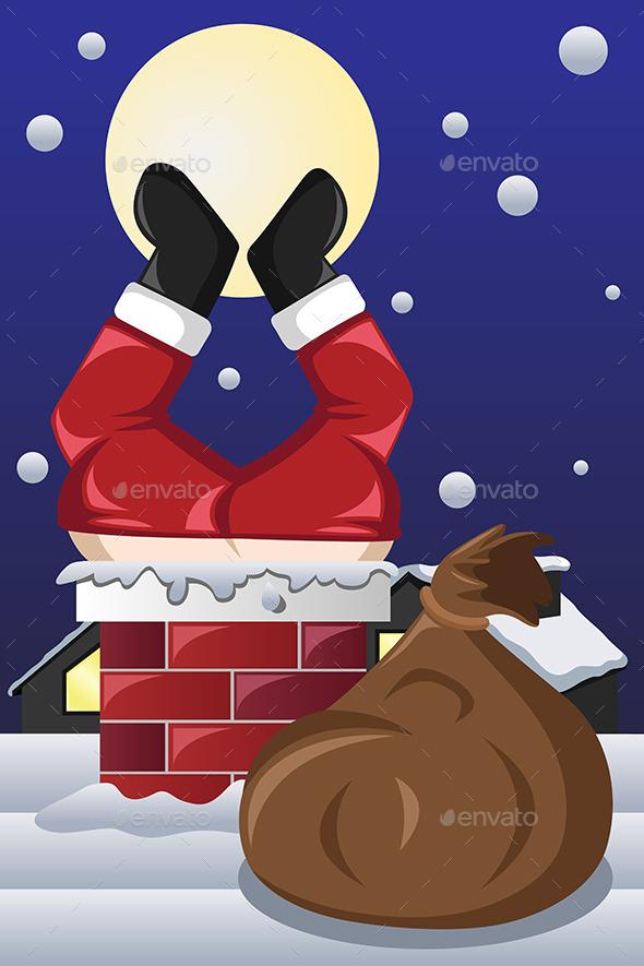 Santa Claus Stuck in a Chimney - Christmas Seasons/Holidays