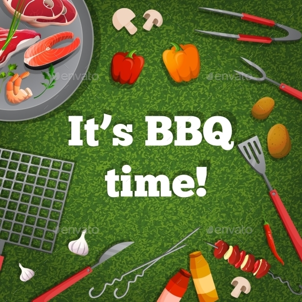 BBQ Picnic Poster - Food Objects
