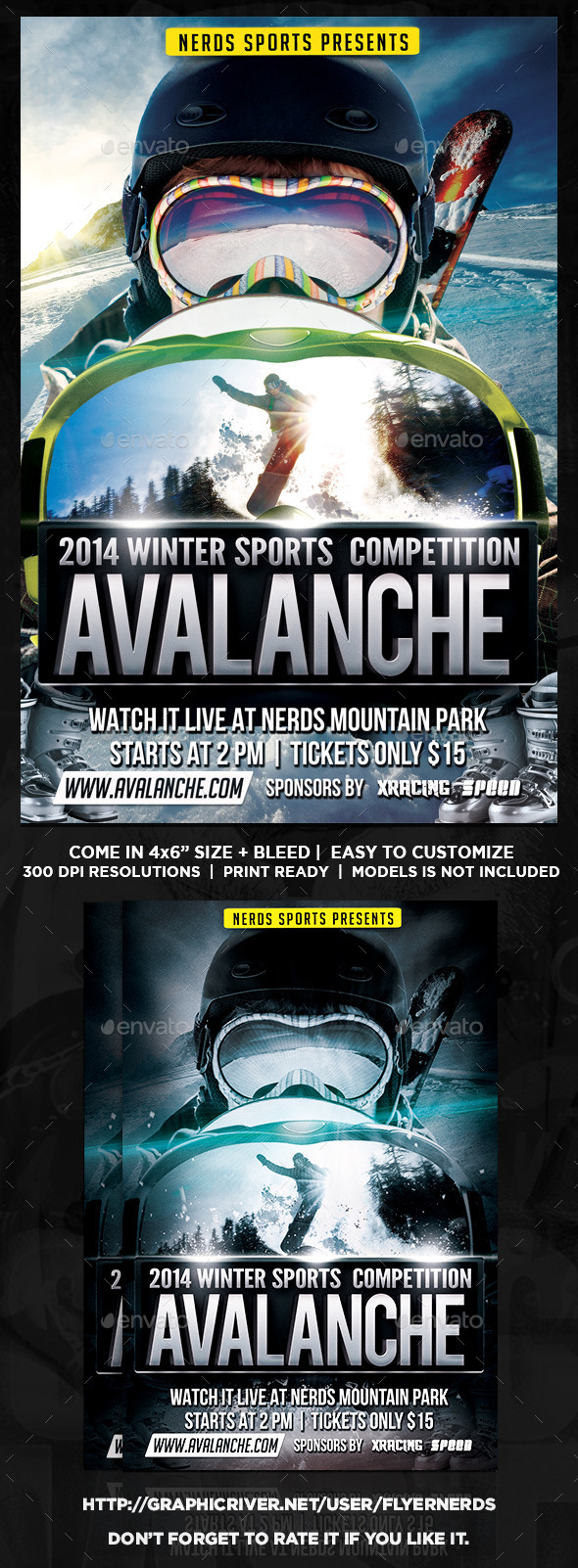 Avalanche Winter Sports Tournament Flyer - Sports Events
