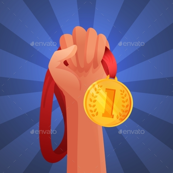 Hand Holding Medal - Backgrounds Decorative