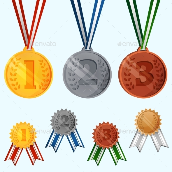 Award Medals Set - Decorative Symbols Decorative